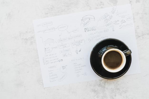 Koffiekopje op papier met businessplan brainstormen Gratis Foto