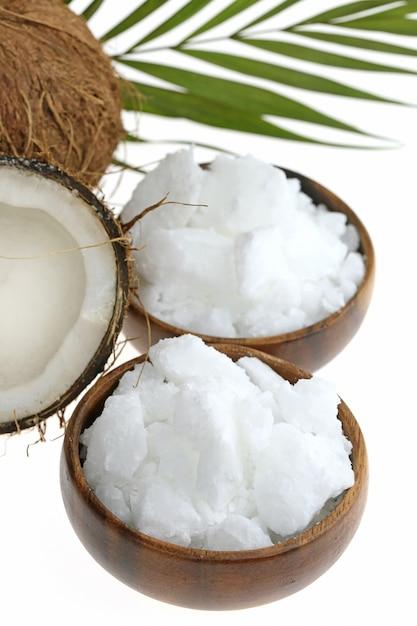 Kokosnootolie. organische natuurlijke vaste kokosolie Premium Foto