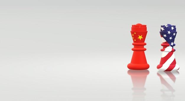 Koning schaken china vs koning schaken amerika Premium Foto