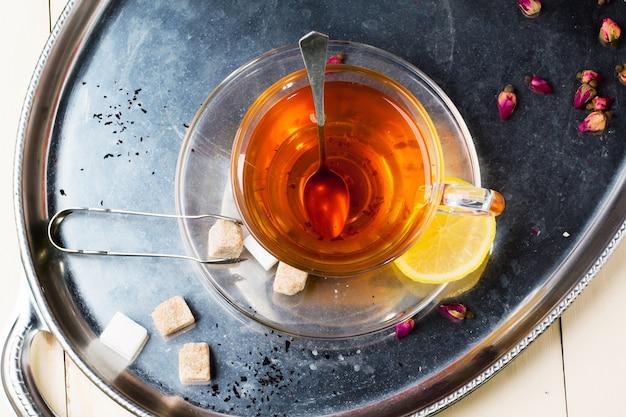 Kop thee met suiker en citroen Premium Foto