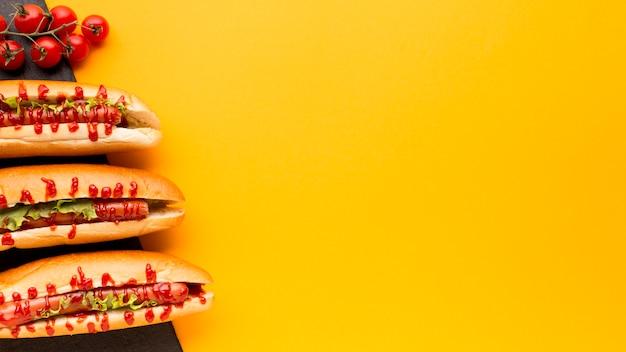Kopieer de ruimte met hotdogs en tomaten Gratis Foto