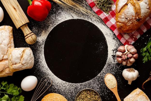 Kopieer ruimte cirkel omringd door bakkerijen Gratis Foto