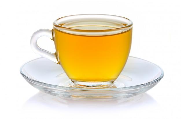 Kopje warme groene thee geïsoleerd op wit Premium Foto