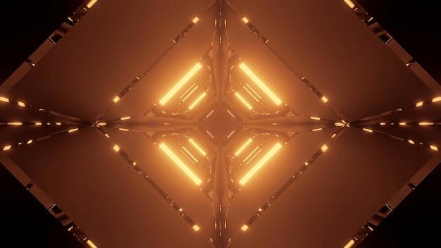 Kosmische achtergrond met gouden neon laserlichten Gratis Foto