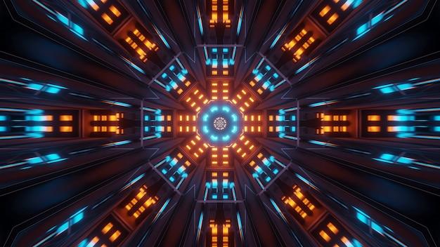 Kosmische achtergrond met kleurrijke blauwe en oranje laserlichten - perfect voor een digitaal behang Gratis Foto