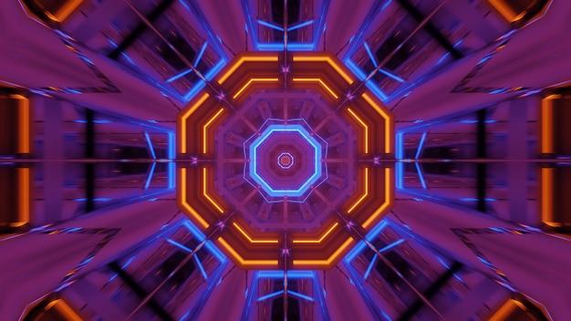 Kosmische achtergrond met roze, oranje en blauwe laserlichten - perfect voor een digitaal behang Gratis Foto
