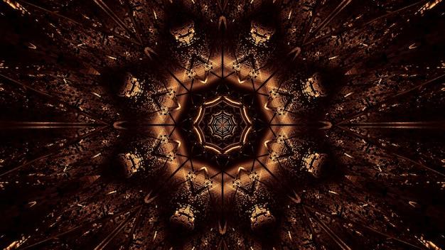 Kosmische achtergrond van bruine en gouden laserlichten Gratis Foto