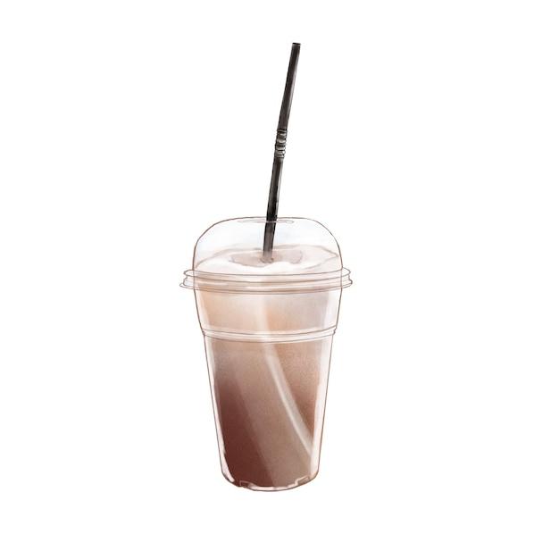 Koude koffie. hand getrokken illlustraton. Premium Foto
