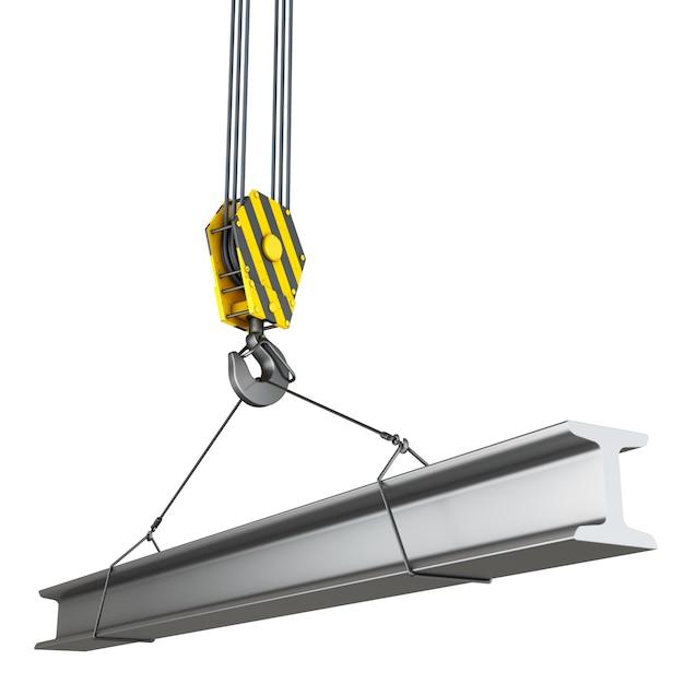 Kraanhaak met constructie metalen balk. Premium Foto