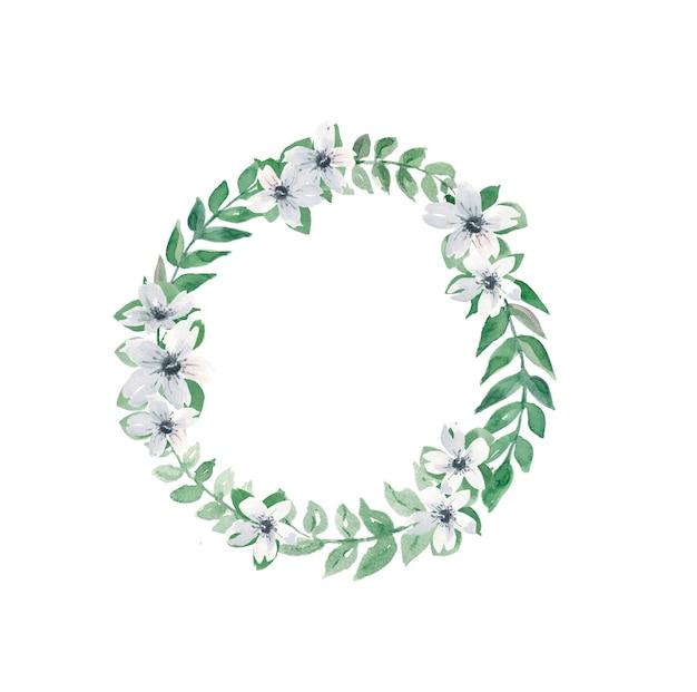 Krans van animonas en bladeren voor huwelijksuitnodigingen Premium Foto