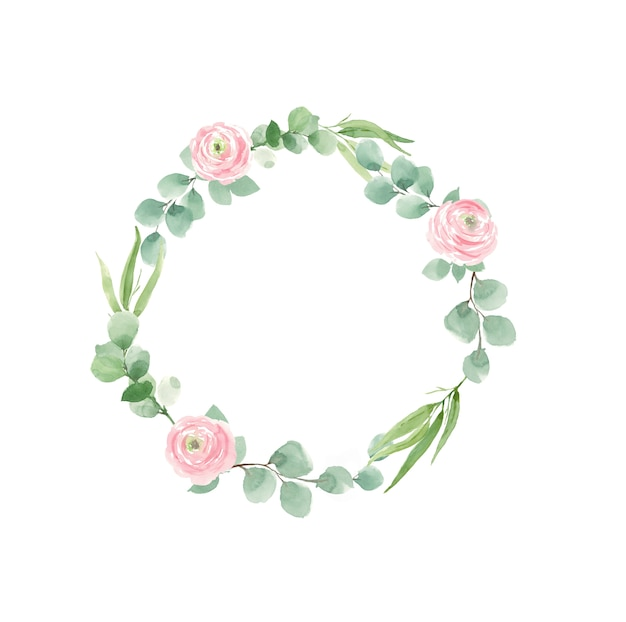 Krans van rozen en groene bladeren voor bruiloft uitnodigingen Premium Foto