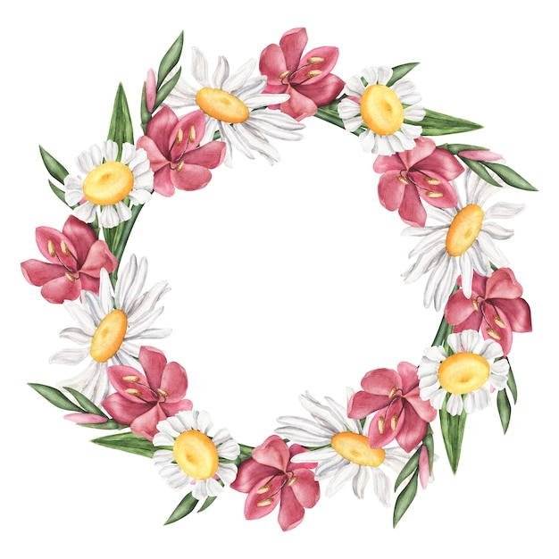 Krans van zomerbloemen - madeliefje, lelie, kamille frame Premium Foto