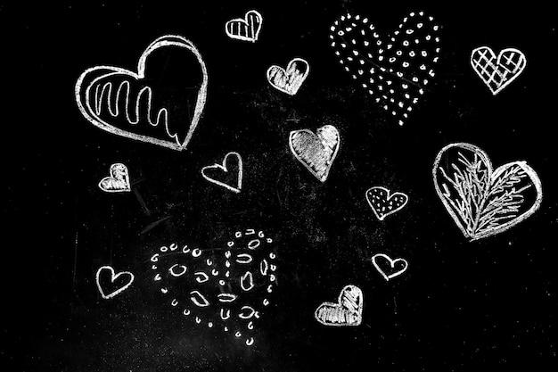 Krijt harten tekenen Gratis Foto