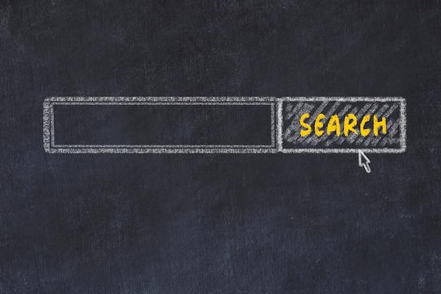Krijtbord schets. zoekmachine met exemplaarruimte Premium Foto