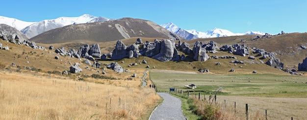 Krommeweg bij de bergketen nieuw zeeland van castle hill-alpen Premium Foto