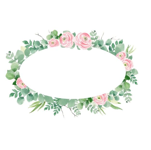Kroon van rozen en bladeren voor bruiloft uitnodigingen, ovaal Premium Foto