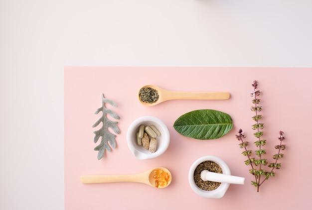 Kruiden organisch medicijnproduct. Premium Foto