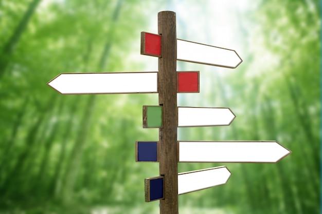 Kruispunt houten directionele pijl tekenen Premium Foto