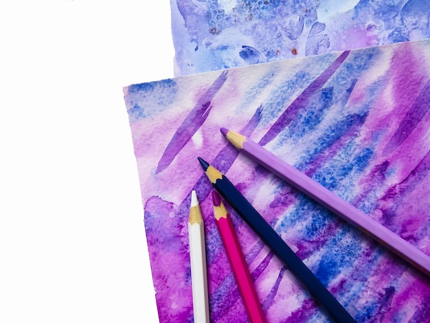 Kunst aquarel achtergrond. hand getrokken textuur. papier en potlood. Premium Foto