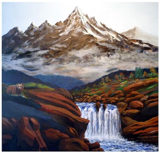 Kunst schilderij verf waterval bergen kleur foto gratis download - Kleur schilderij slaapkamer volwassen foto ...