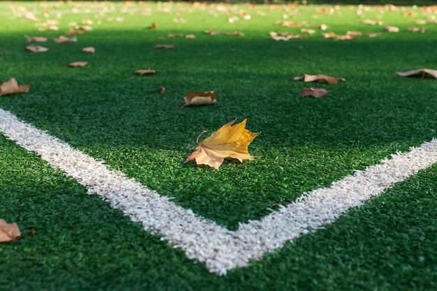 Kunstgras voetbalveld, een hoekmarkeringslijn. Premium Foto