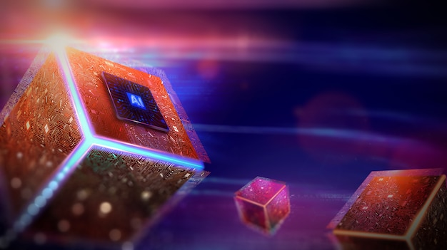 Kunstmatige intelligentie. (ai), machine learning, technologie en engineering. Premium Foto