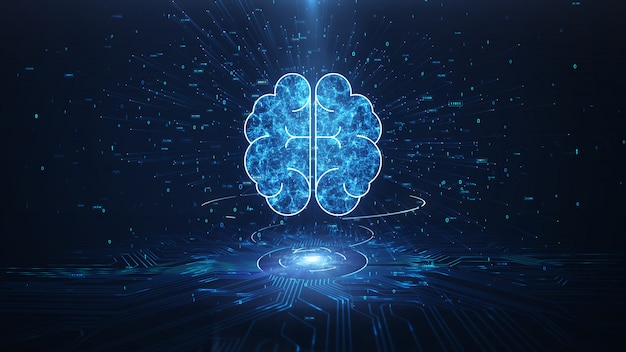 Kunstmatige intelligentie brain animation Premium Foto