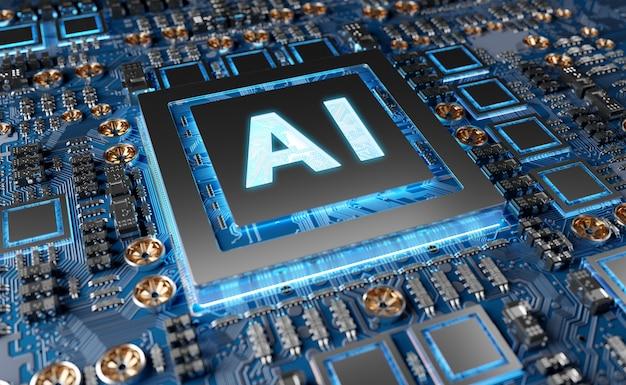 Kunstmatige intelligentie in een moderne gpu-kaart Premium Foto