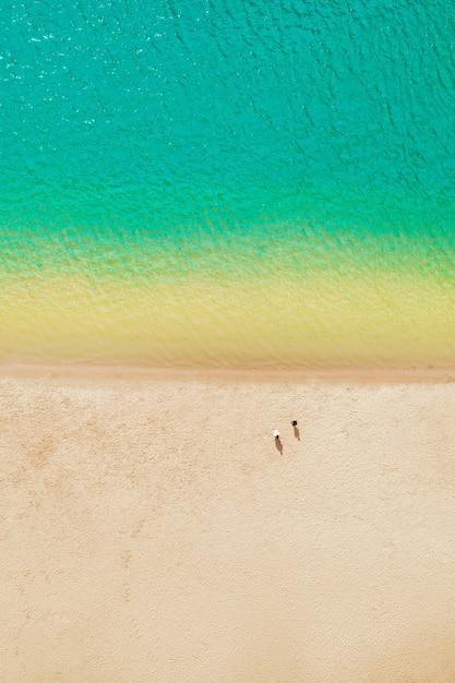 Kustlijn met schoon azuurblauw water en geel warm zand - het concept van zee-recreatie en ecotoerisme Premium Foto