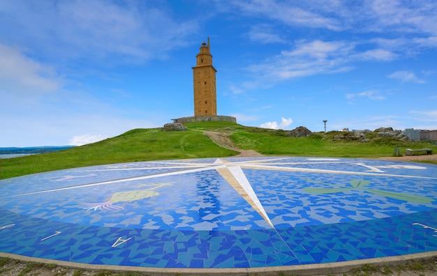 La coruna kompasmozaïek hercules toren galicië Premium Foto