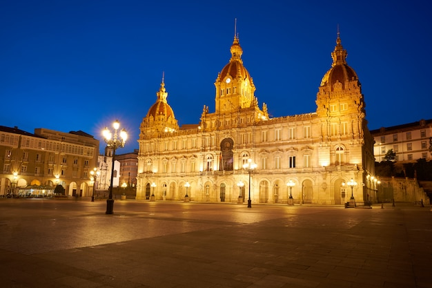 La coruna stadhuis in maria pita square galicië Premium Foto