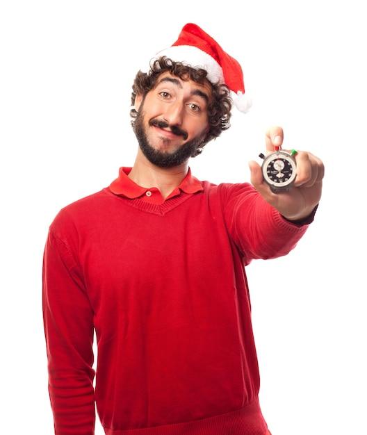 Lachende man met een stopwatch Gratis Foto