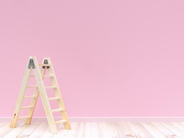Ladder houten op concrete muur roze kleur en houten vloer voor achtergrond. 3d render. Premium Foto