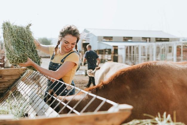 Landbouwer die voor dieren zorgt Gratis Foto