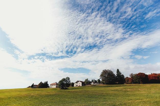 Landschap van groene velden, privé huizen in de verte, mooie wolken in de lucht Premium Foto