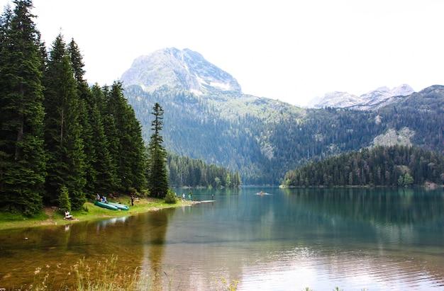 Landschap van het zwarte meer in montenegro. berglandschap. Premium Foto