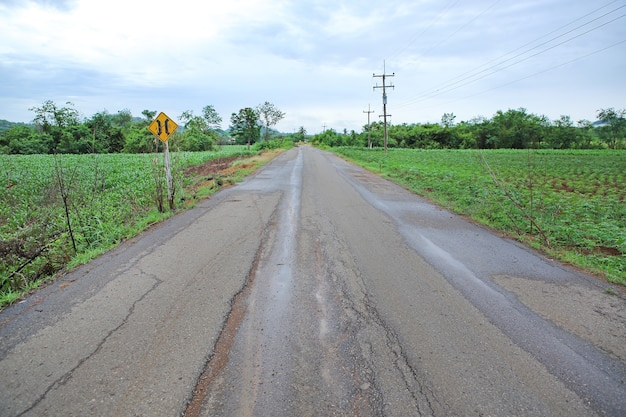 Landweg na regen in thailand. Premium Foto