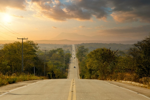 Lange snelweg omzoomd met bomen op het platteland met een kleurrijke middaghemel Gratis Foto