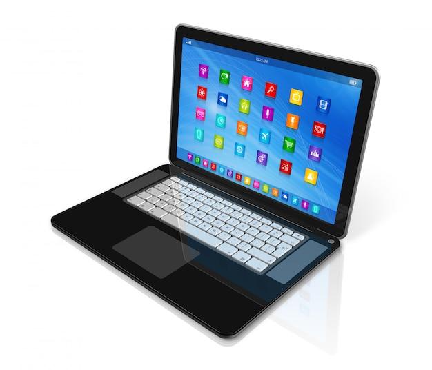 Laptop computer - apps pictogrammeninterface Premium Foto