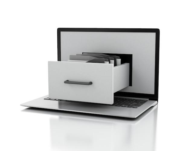 Laptop en archiefkast met mappen. data opslag concept. 3d illustratie. Premium Foto