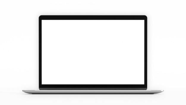 Laptop met een leeg scherm. computer mockup en uitknippad. 3d render. Premium Foto