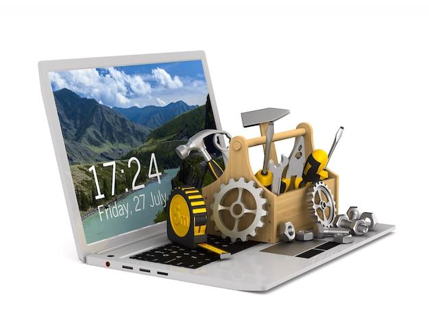 Laptop service op wit. geïsoleerde 3d-afbeelding Premium Foto