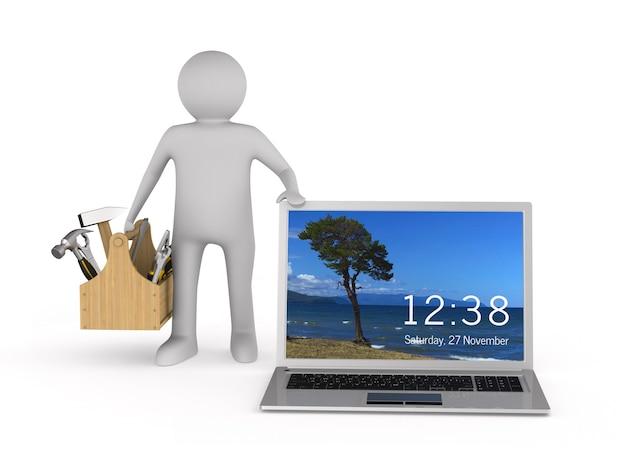 Laptop service op witte ruimte. geïsoleerde 3d-afbeelding Premium Foto
