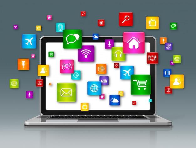 Laptopcomputer en vliegende apps pictogrammen geïsoleerd op grijs Premium Foto