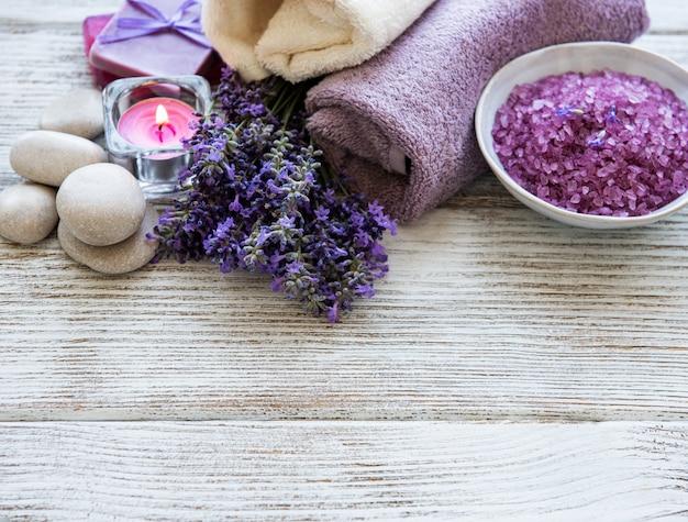 Lavendel spa-producten Premium Foto