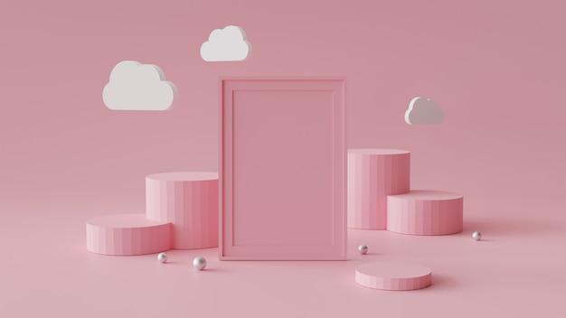 Leeg afbeeldingsframe met cilinder podium. abstracte geometrische achtergrond voor weergave of mockup. Premium Foto