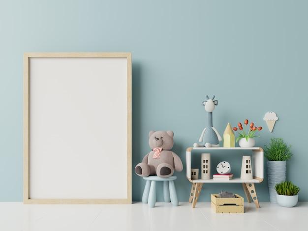 Leeg fotoframe in het interieur van de kinderkamer. Premium Foto
