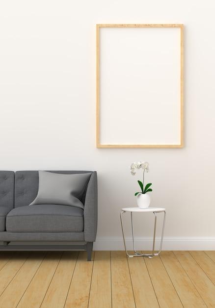 Leeg fotoframe voor mockup in moderne woonkamer Premium Foto