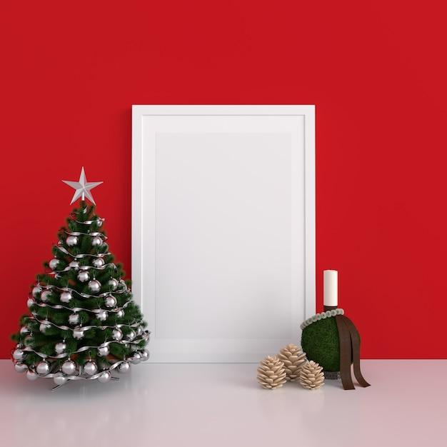 Leeg fotokader voor mockup, kerstmisconcept Premium Foto