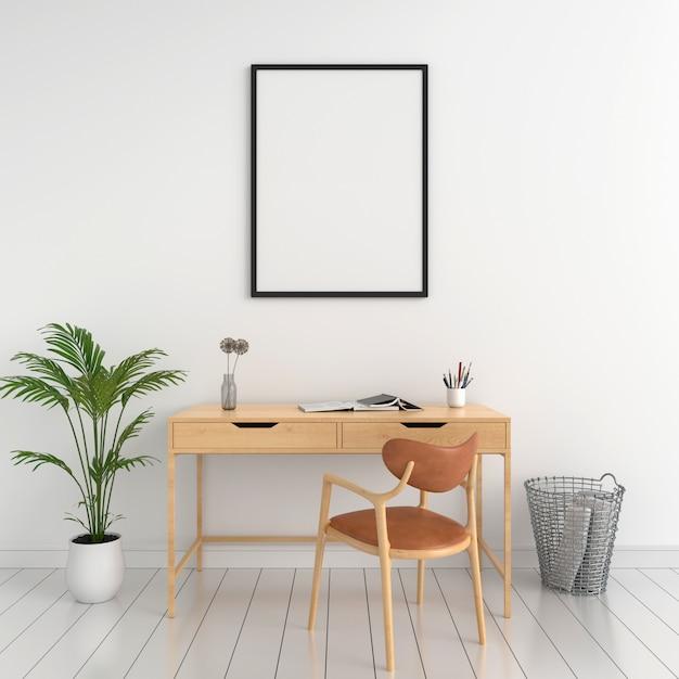 Leeg fotokader voor mockup op muur Premium Foto